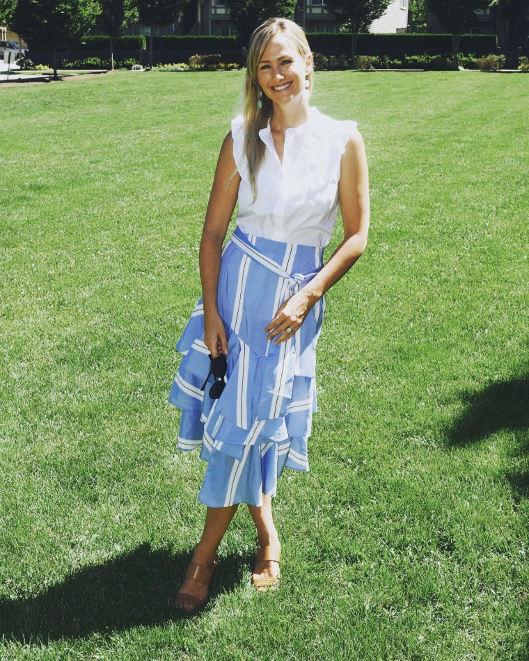 Blue striped Midi