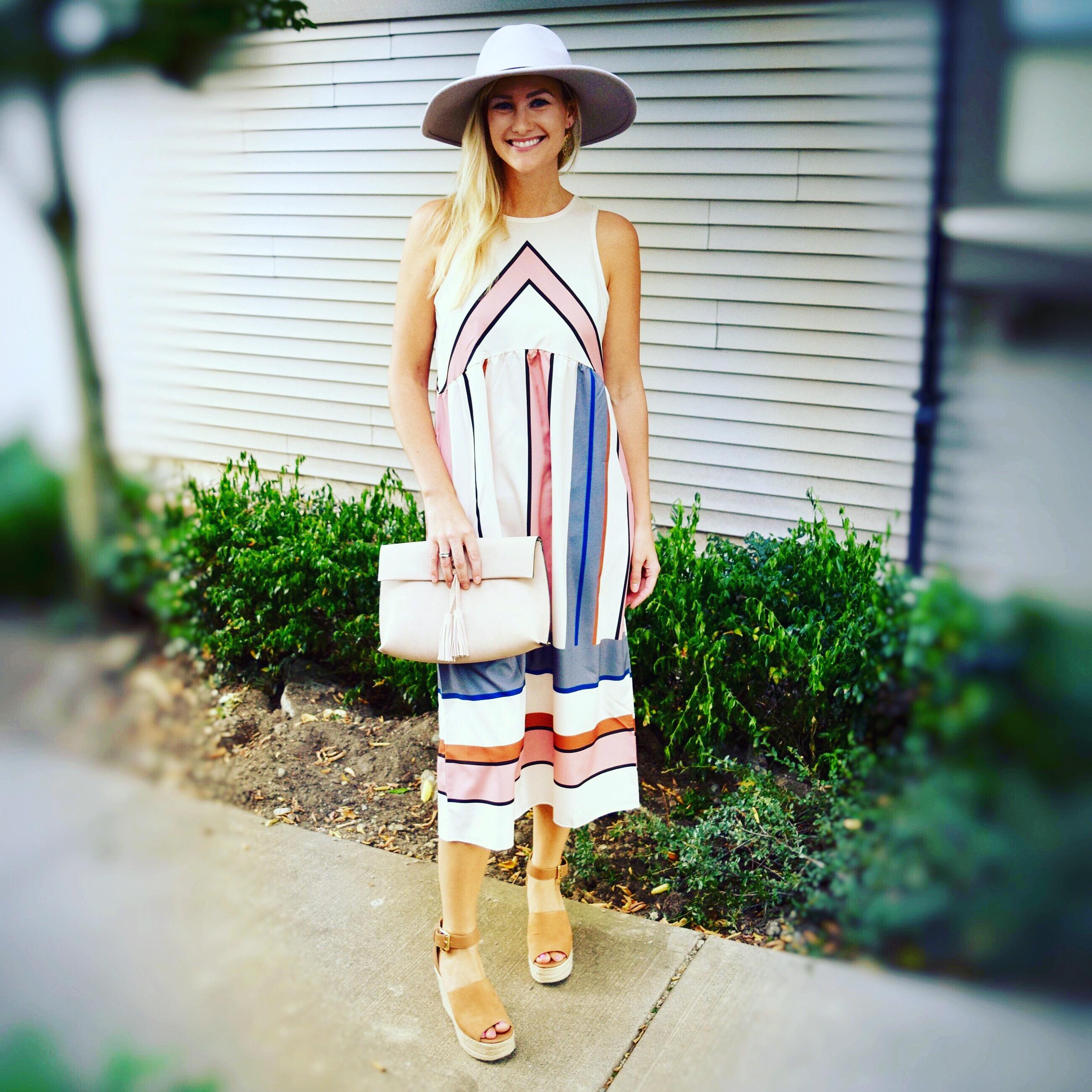 Striped midi dress, panama hat, wedges