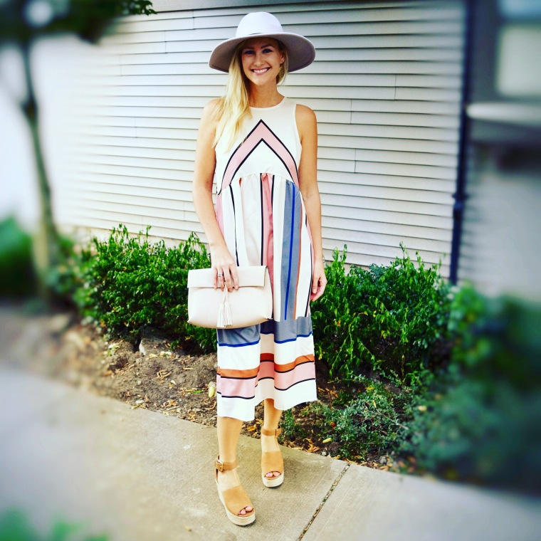 Striped midi dress, panama hat, wedges