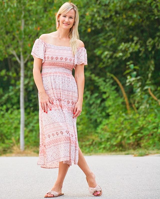 pink off the shoulder dress, bow slides