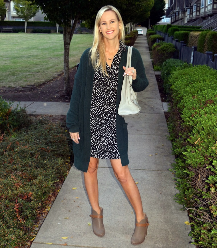 Shirt Dress, Long Cardigan & ankle boots