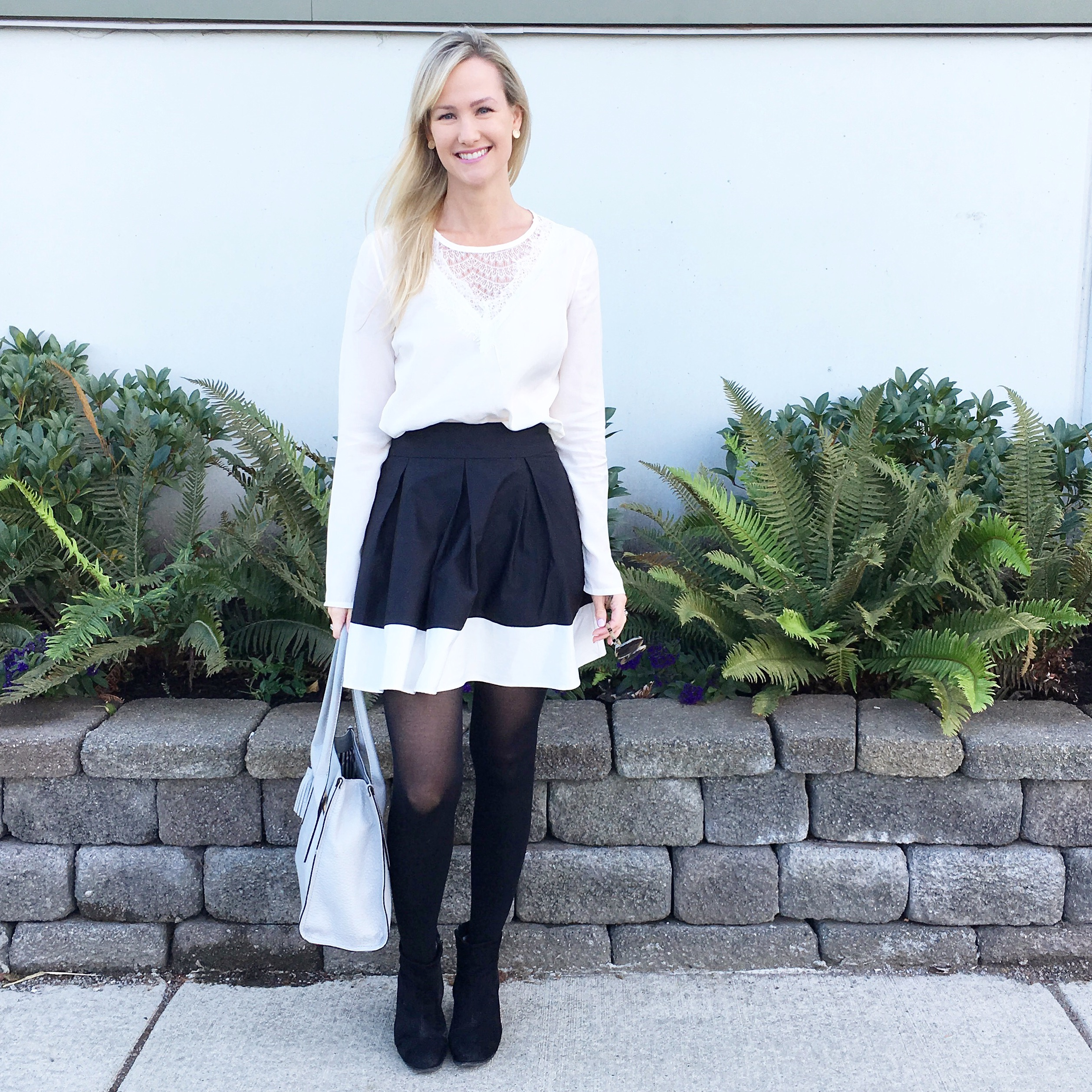 Black & white skirt, Lace top