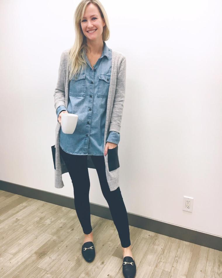 Midi cardigan, denim shirt, mules