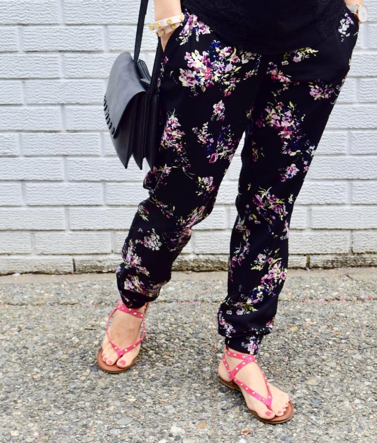 Floral Pants & Gladiator Sandals