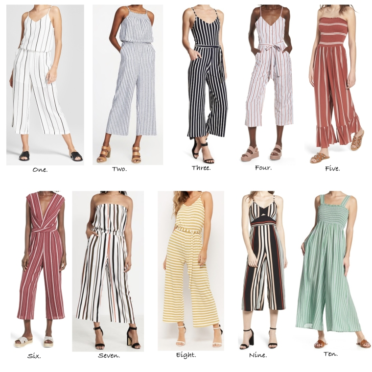 The cutest striped jumpsuits