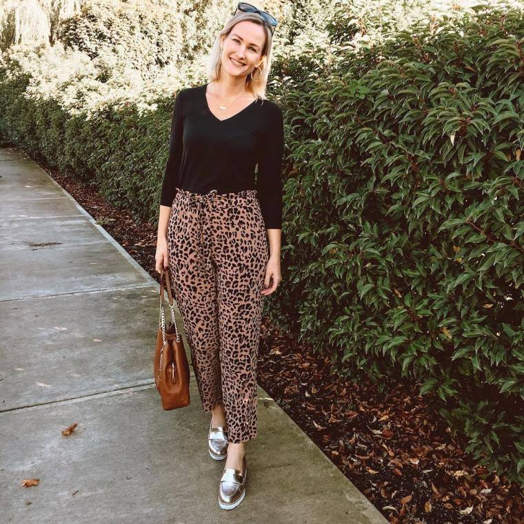 Leopard Tie Waist Pants
