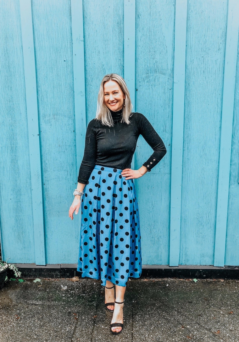 blue and black polka dot skirt